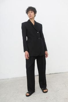 Yulia Kondranina High Waisted Linen Trousers with Belt in Black | Oroboro Store | New York, NY