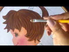 Pintura en tela niña con patito # 5 con cony - YouTube