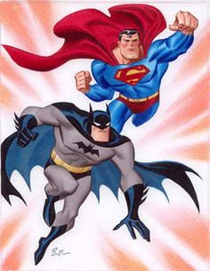 Batman and Superman by Bruce Timm - Batman Poster - Trending Batman Poster. - Batman and Superman by Bruce Timm Bruce Timm, Comic Book Artists, Comic Artist, Comic Books Art, Batman E Superman, Batman Art, Arte Dc Comics, Warner Bros Animation, Harley Quinn