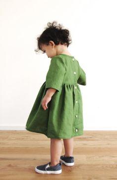 Baby Girls Handmade Linen Fall / Winter Dress   BimbieKids on Etsy