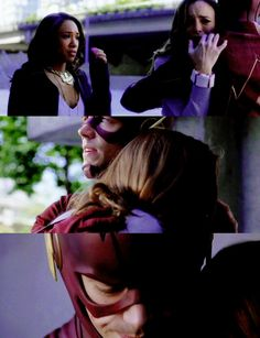 Friendly notice that both Iris and Caitlin were experiencing the same thing, and it's Caitlin he is comforting. :)