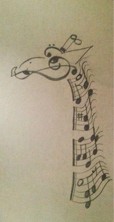 Giraffe made out of music notes. Very creative ide. Giraffe made out of music notes. Very creative idea. The artist did a great job. Music Drawings, Cool Drawings, Afrique Art, Giraffe Art, Giraffe Drawing, Baby Giraffes, Drawing Hands, Music Tattoos, Painting & Drawing