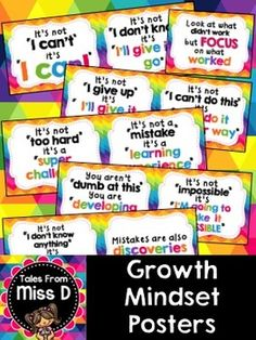 Encourage a Growth Mindset in your classroom with these bright and colourful posters. There are a total of 12 posters