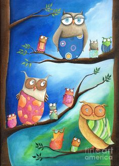 Owls School Painting Sonja Mengkowsky