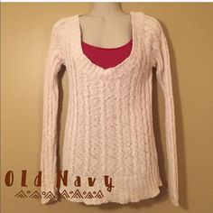 """❄️Sweater❄️ Off-white cable knit open neck sweater. Fits slightly off the shoulders and is in good condition. The sweater is 94% cotton and 6% acrylic and is machine washable. The sweaters length measures at approximately 24"""". No Trades   No PayPal Old Navy Sweaters"""