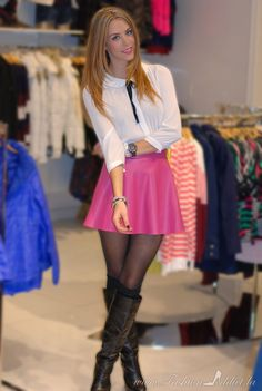 He is very pretty in his pink skirt! MMM Clothes shopping with mom? Transgender, Sexy Outfits, Cute Outfits, Short Skirts, Mini Skirts, Pin Up, Corps Parfait, Special Girl, Glamour