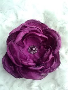 Magenta satin and organza hair flower handmade hair by faeryfloral, $10.00