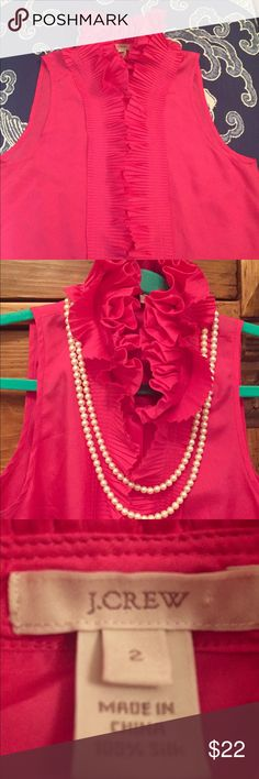 J.Crew Silk Cascading Ruffle top w silk buttons🌷 J.Crew Silk Glorious Bright Pink Blouse w cascading tuxedo Ruffle!  Size Two. DEAL Noticed under right ruffle a stain which is covered by ruffle so I lowered the price. See picture. J. Crew Tops Blouses