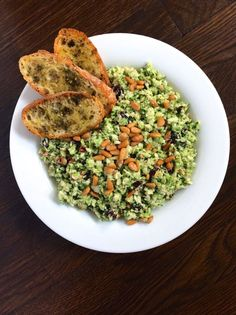 Brussels Slaw with Tahini Dressing and Za'atar Crostini
