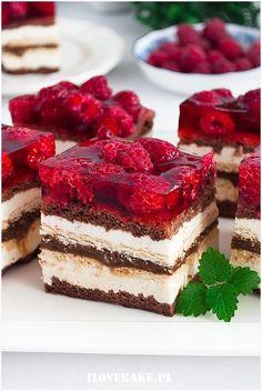 Ciasto Balladyna - I Love Bake No Bake Desserts, Vegan Desserts, Delicious Desserts, Dessert Recipes, Yummy Food, Sweets Cake, Cupcake Cakes, Bolo Original, Polish Recipes