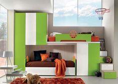 Sporty Bedrooms for Teen Boys, basketball, orange, green