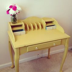 "Yellow Writing Desk in a custom mix of Annie Sloan chalk paints ""Arles"" and ""English Yellow"" by Furniture Alchemy"