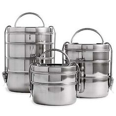 """Everyone can use a """"tiffin"""" lunch box and this set comes with three in different sizes for different types of meals or you could separate them and give them as a gift to three different people. The rage in Britain after originating in India."""