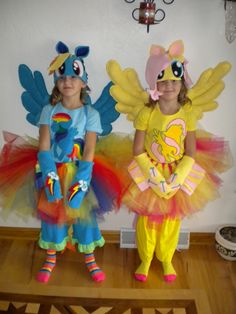 Rainbow Dash and Fluttershy from y Little Pony.  This years Halloween Costumes