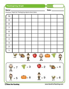 Thanksgiving Graph Worksheet Preschool Number Worksheets, Graphing Worksheets, Graphing Activities, First Grade Activities, Teaching First Grade, Kindergarten Worksheets, Thanksgiving Worksheets, Engage In Learning, Rules For Kids