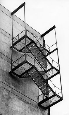 Philosophicum, fire escape Goethe University Frankfurt am Main @Kramer Archiv 1960