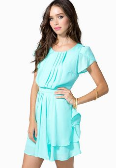Blue Short Sleeve Casual Ruffle Dress pictures
