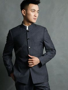 bb9dadeb4 mao suit 1980s - Google Search Chinese Collar Shirt, Groom Outfit, Groom  Attire,