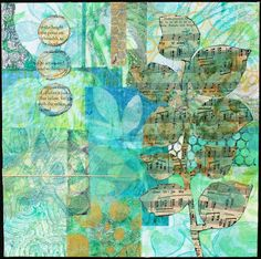 https://flic.kr/p/E8U5EL | Collage 2 - Leafy Green | Collage created in Jane Lafazio's class: Abstract Collage Using Gelli Plate Monoprints. Monoprints created on gelatin plate with acrylic paint on rice paper and embellished with other elements as shown. Collage measured 10 x 10.