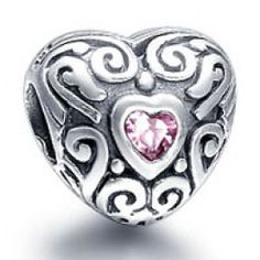 Gems and Silver Pink Heart  Birthstone Charms   Fit pandora,trollbeads,chamilia,biagi,soufeel and any customized bracelet/necklaces. #Jewelry #Fashion #Silver# handcraft #DIY #Accessory