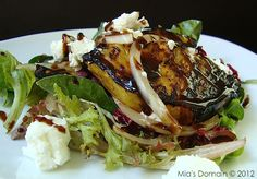 Mia's Domain: Grilled Balsamic Pineapple Goat Cheese Salad - this looks awesome, wanna try subbing green onion for white, taking out the goat cheese and adding some type of sweet spicy glazed nut or meat grilled in the same marinade as the pineapple.