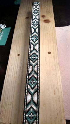 The Turquoise Cheyenne - Custom Beadwork, Hand Beaded Hat Band, Cowboy Hat band - Daily Good Pin Loom Bracelet Patterns, Beaded Earrings Patterns, Bead Loom Bracelets, Bead Loom Patterns, Beading Patterns, Jewelry Patterns, Beaded Hat Bands, Bead Loom Designs, Native Beadwork