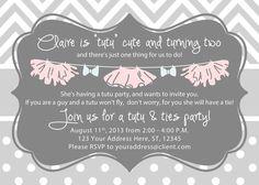 Girl Birthday Invitation Tutus and Ties by TheBlushingGarden, $14.00