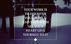 Your work is to discover your world and then with all your heart give yourself to it. -- Buddha