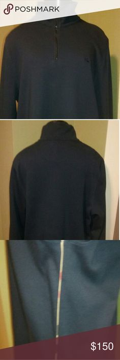 Men's Burberry sweatshirt Great Men's Burberry long sleeve Sweatshirt with Burberry check piping on both sides and logo on the front. Zip collar. Gently used.  Excellent condition Burberry Shirts Sweatshirts & Hoodies