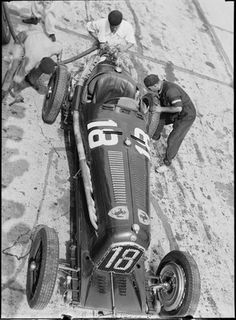 Louis Chiron's Alfa Romeo in the pits, 1930s.