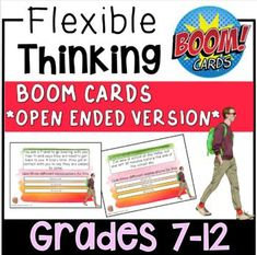 Your students will get plenty of cognitive flexibility practice with these 40 BOOM cards! Each card features a situation relatable to teens, where the student must work through questions to practice avoiding jumping to conclusions and identifying more than one possible interpretation of a given soci... Problem Solving Activities, Reading Task Cards, Jumping To Conclusions, Learning Cards, Special Education Teacher, High School Students, Social Skills, Speech Therapy, Teenagers