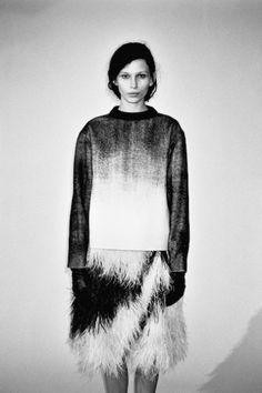 Contemporary Fashion - top & skirt with contrasting layers & textures // Proenza Schouler
