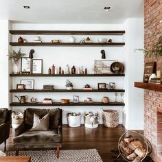 Are you bored with your overly minimalist or traditional fireplace? See how a mom-of-two transformed her living room using reclaimed finishes and some elbow grease—and sourced a mantel to give her space a modern farmhouse look. Rustic Fireplace Mantels, Wooden Mantel, Home Living Room, Living Spaces, Traditional Fireplace, Teak, Family Room, Interior Design, Interior Paint