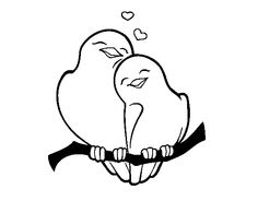 Dibujo De Pájaros Enamorados Para Colorear Chibis Character