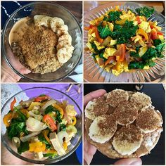 A little snapshot into my daily meals while I prep for another bikini competition. I didn't include pictures of the two protein shakes I have as well. I usually start my day with a serving of protein oatmeal with half a banana and PB2 on top, then a protein shake with mostly greens and almond milk, two servings of @BeyondMeat Grilled Strips for lunch with A TON of non-starchy veggies sautéed in vegetable broth, then another protein shake with a cup of blueberries, then two brown rice cakes…
