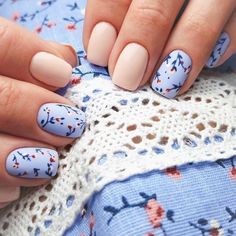 56 Must-Try Trendy and Gorgeous Light Blue, Sky Blue Nails Designs in Fall and Winter - Spring Nails Spring Nail Art, Nail Designs Spring, Nail Art Designs, Light Blue Nail Designs, Cute Spring Nails, Fall Designs, Flower Nail Designs, Floral Designs, Summer Nails