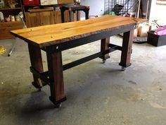 Industrial Style Live Edge Cherrywood Slab Table