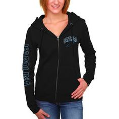 8106367e2cb25 Women s Carolina Panthers 5th  amp  Ocean by New Era Black Full Zip Hoodie  Team Gear