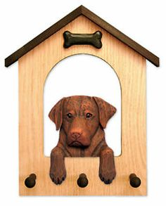 3 Coat Styles-Labrador Retriever Dog House Leash Holder. In Home Wall Decor Products & Gifts.