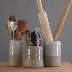 These ceramic utensil holders are modern, minimal, and made with care and artistry. | Made on Hatch.co by independent makers & designers