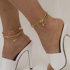 Anklet Jewelry, Anklets, Body Jewelry, Womens Ankle Bracelets, Moda Retro, Fashion Mode, Style Fashion, Boot Bling, Retro Mode