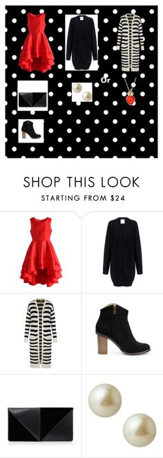 """Red + Black"" by rachellemh on Polyvore featuring Chicwish, C/MEO COLLECTIVE, Yumi, UN United Nude, Carolee, Disney, women's clothing, women's fashion, women and female"