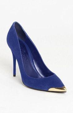 Alexander Mcqueen Metal Toe Pump in Blue (royal blue) Wedding Accessories For Bride, Wedding Shoes, Bootie Boots, Shoe Boots, Shoes Heels, Shoe Palace, Alexander Mcqueen Shoes, Pretty Shoes, Suede Pumps