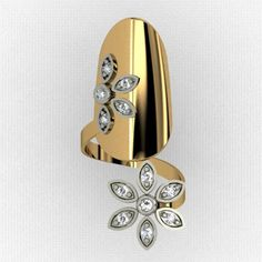Wonderful Flower-shaped CZ Inlaid Gold-plated 925 Sterling Silver Nail Cocktail Ring