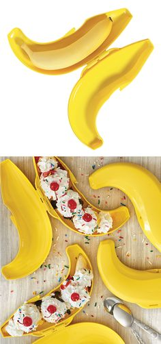 Banana Keeper. Go bananas! Dress it up for a banana split party or toss any sized banana in your lunch bag without worry of bruising or breaking. Available only at a party through August 12, 2016.