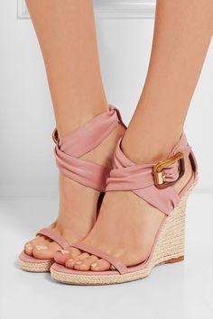 Ballet Pink Burberry Leather Espadrille Wedge Dress Sandals