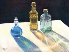 """Glass Bottles in sun, art watercolor painting print from original still life by Cathy Hillegas, Sun Dance"""""""