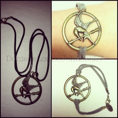 DIY hunger games Necklace into a bracelet. (Got this mocking jay pendent when I bought the hunger games DVD, used needle nose pliers to undo the necklace, Added some suede string, use the hardware that came with the pendent on the string, and tighten with a needle nose pliers. Voila.)