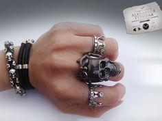 Sancti black  gothic skull ring / Steampunk / by TYVODAR on Etsy, $49.00