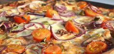 Pizza með hakki og kirsuberjatómötum